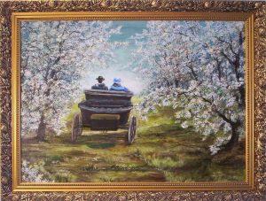 Virágzó fák között című festmény