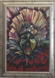 Karneváli pillanat című Havasi Ica festmény