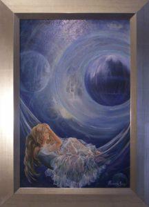 """Képzeleted """"LÉT """"kékjében ringatózik című Havasi Ica festmény"""