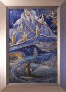 Az ösvényt hópihe szitálta,de mégis ott az út című festmény