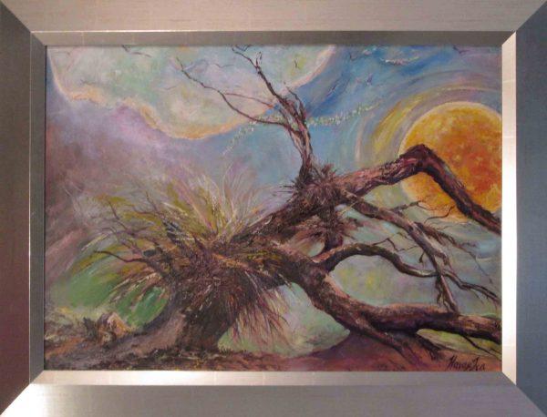 Festmény címe egy idézet: Az igazság áll,a jóság térdel,a szépség röpül