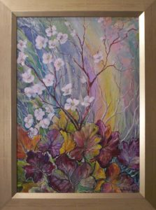 Virágok alatt a tavalyi ősz című Havasi Ica olajfestmény