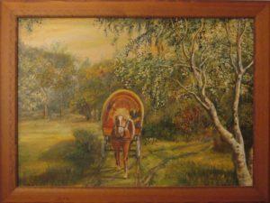 Echós szekérrel az erdőben című Havasi Ica született Markó Ilona festmény